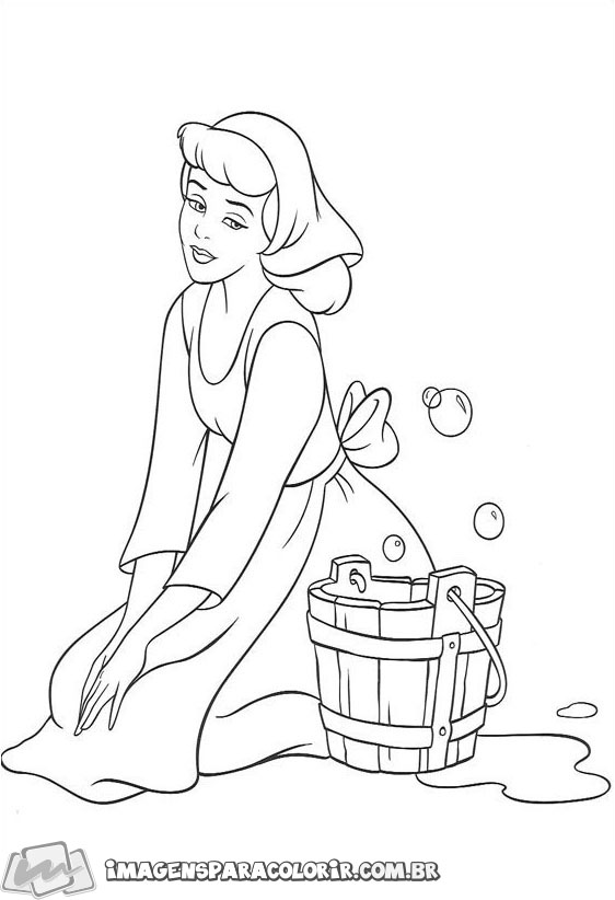 Cinderela lavando o chão