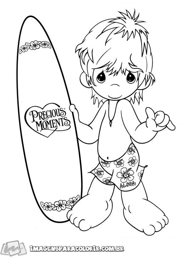 Precious Moments - Menino surfando